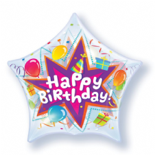 Happy Birthday Party Blast Star Bubble Balloon